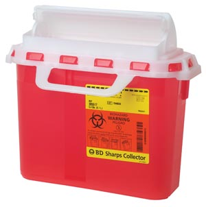 BD Sharps Collector, 5.4 Qt, Next Generation, Counter Balanced Door, Red