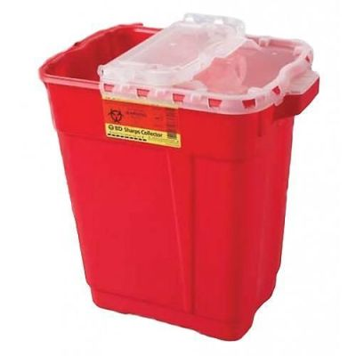 BD Sharps Collector, 9 Gal, Slide Top Gasketed, Red, 8/cs