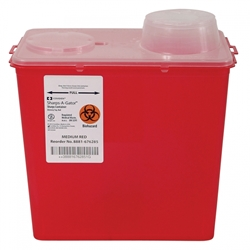 Sharps-A-Gator™ Sharps Container, Chimney Top, Red, 8 Quart