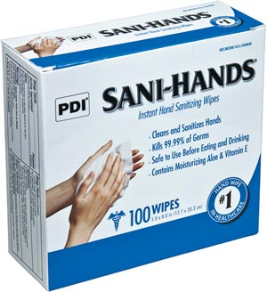 "PDI Sani-Hands Instant Hand Sanitizing Wipe, 5"" x 8"", 100/bx"