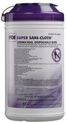 "PDI Super Sani-Cloth Germicidal Disposable Wipe, X-Large, 7½"" x 15"", 65/canister"