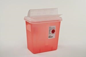 "Cardinal Health Sharps Container, 2 Gallon, Transparent Red, Clear Lid, 12¾""H x 7¼5""D x 10½""W"
