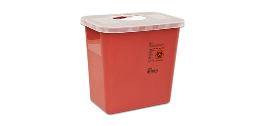 Cardinal Health Sharps Container, 2 Gal, Red, Rotor Opening Lid